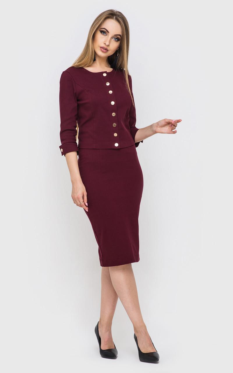 ac071e85ab9d Женский костюм с юбкой цвета марсала - Интернет - магазин модной одежды и  аксессуаров