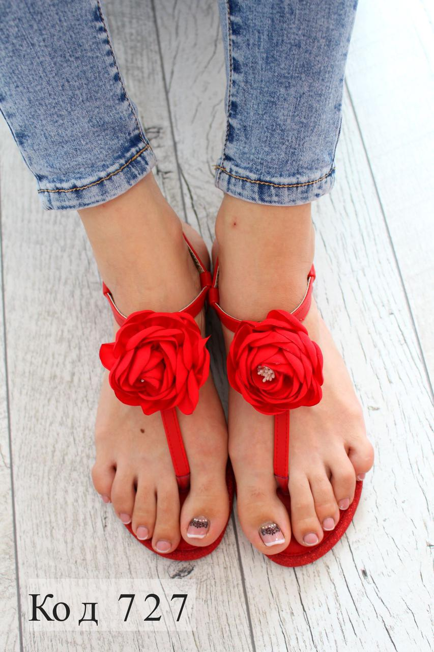 "Босоножки "" Red flower "" Кожзам."