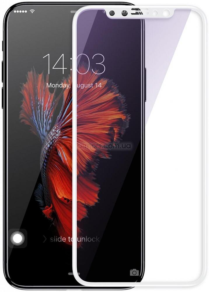 Защитное стекло iPhone X | XS (0.3 мм, 4D, oleophobic) тех. пак., белое