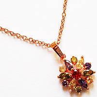 """Кулон """"Камелия"""" (цветные кристаллы) на цепочке. Ювелирная бижутерия. Позолота 18К., фото 1"""