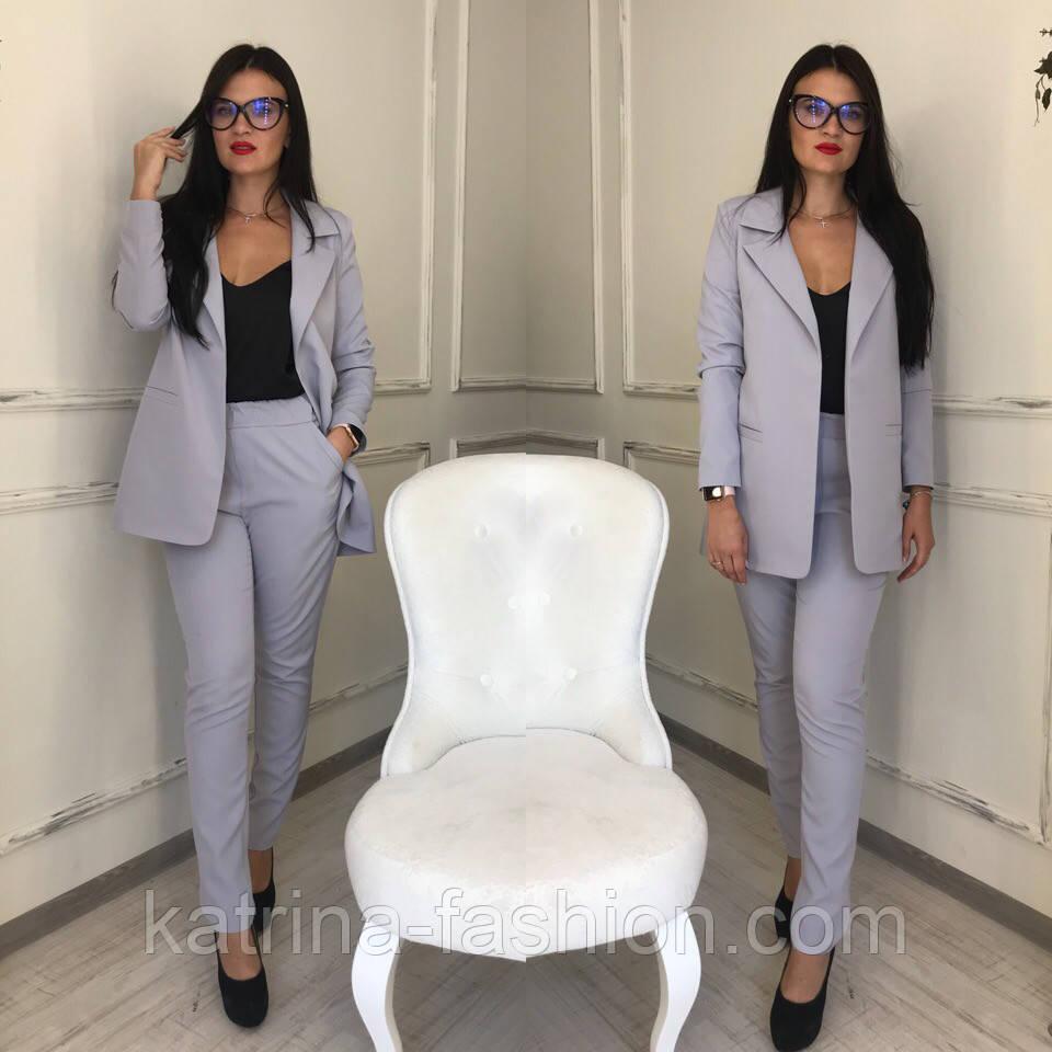 2499a7821 Женский брючный костюм с подкладкой: брюки на резинке и удлиненный пиджак  (расцветки в ассортименте