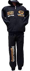 Костюм спорт на мальчика с капюшоном манжет начес подросток (деми)