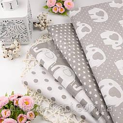 Хлопковая ткань со слониками, цвет серый.