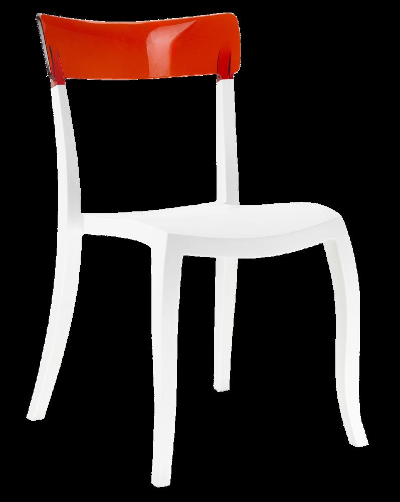 Стул Papatya Hera-S белое сиденье, верх прозрачно-красный