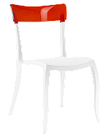 Стул Papatya Hera-S белое сиденье, верх прозрачно-красный, фото 1