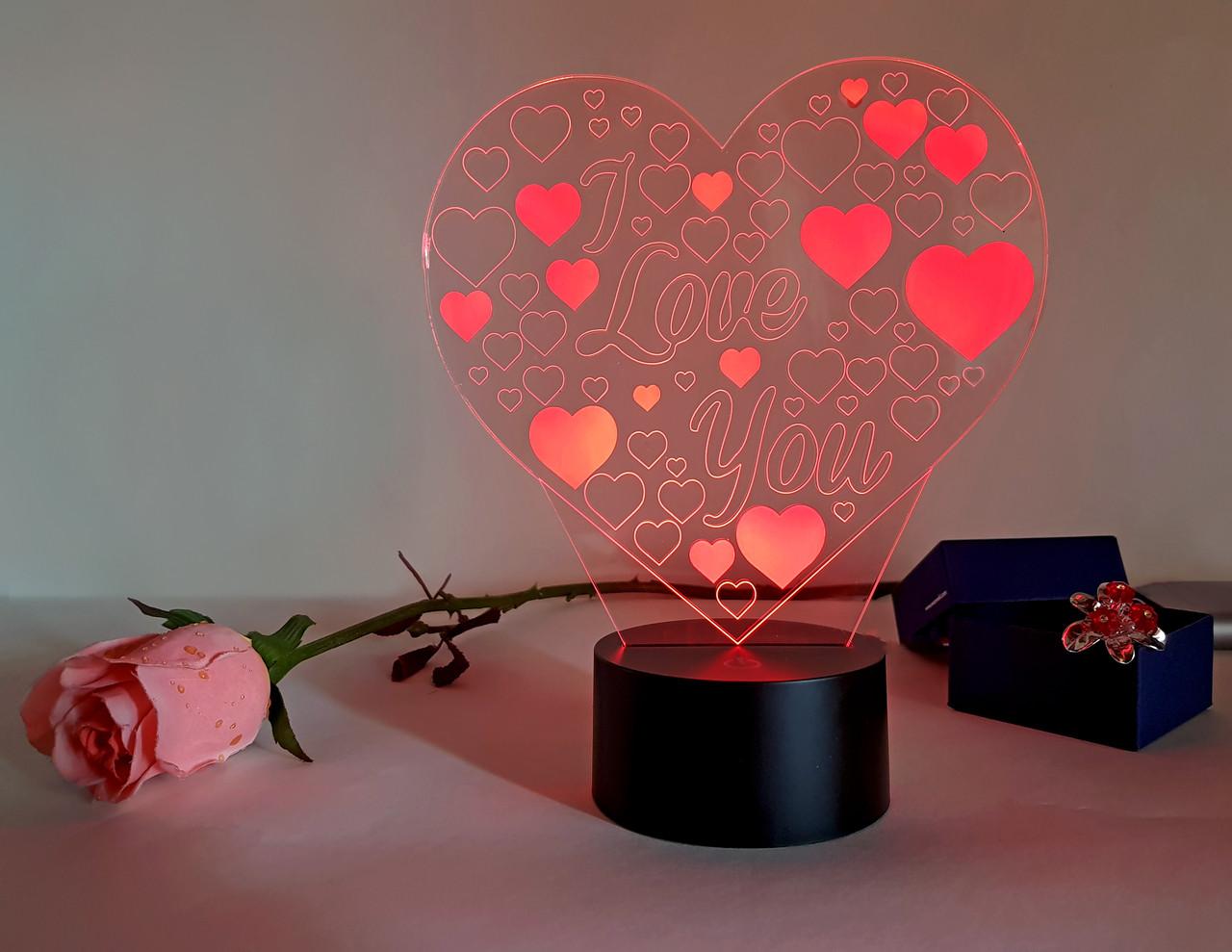 "3D светильник ""Люблю тебя"" 3DTOYSLAMP, фото 1"
