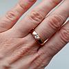 Кольцо с кристаллом. Размеры 18, 19, 20. Розовая позолота 18К. Ювелирная бижутерия.