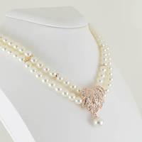 Удивительное ожерелье с кристаллами Swarovski, покрытое золотом 0910