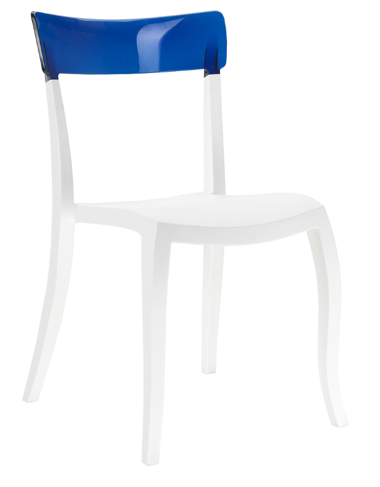 Стул Papatya Hera-S белое сиденье, верх прозрачно-синий