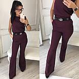 Женский стильный брючный костюм: блуза и брюки-клеш с высокой посадкой (в расцветках), фото 3