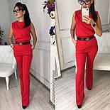 Женский стильный брючный костюм: блуза и брюки-клеш с высокой посадкой (в расцветках), фото 5