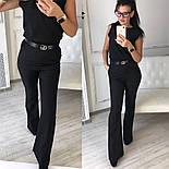 Женский стильный брючный костюм: блуза и брюки-клеш с высокой посадкой (в расцветках), фото 7