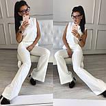 Женский стильный брючный костюм: блуза и брюки-клеш с высокой посадкой (в расцветках), фото 8
