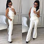 Женский стильный брючный костюм: блуза и брюки-клеш с высокой посадкой (в расцветках), фото 9