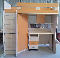 """Кровать  двухъярусная с столом и шкафом  """"Лео"""""""