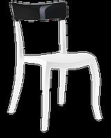 Стул Papatya Hera-S белое сиденье, верх черный, фото 1