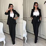 Женский качественный брючный костюм: пиджак на подкладке и брюки с высокой посадкой ( в расцветках), фото 5