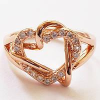 """Кольцо """"Два сердца"""" с кристаллами. Размеры 17, 18, 19. Розовая позолота 18К. Ювелирная бижутерия., фото 1"""