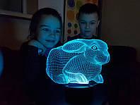 """Детский ночник - светильник """" Кролик 2"""" 3DTOYSLAMP, фото 1"""