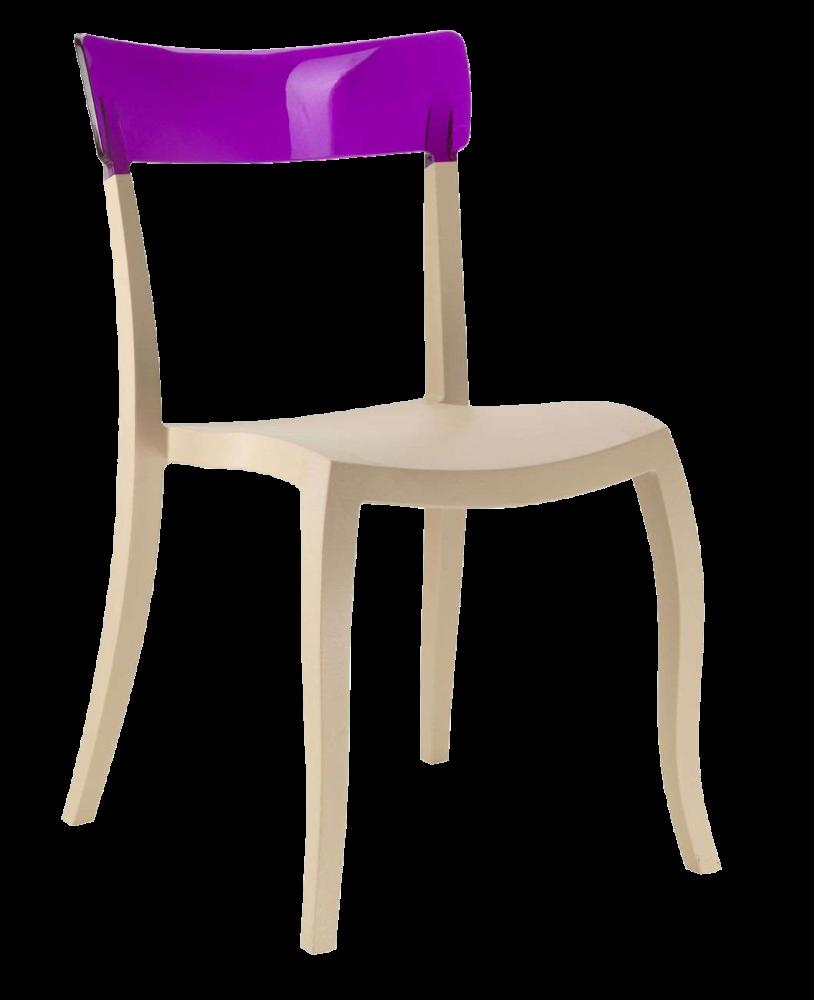 Стул Papatya Hera-S песочно-бежевое сиденье, верх прозрачно-пурпурный