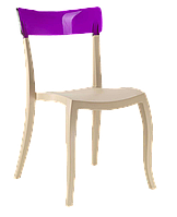 Стул Papatya Hera-S песочно-бежевое сиденье, верх прозрачно-пурпурный, фото 1