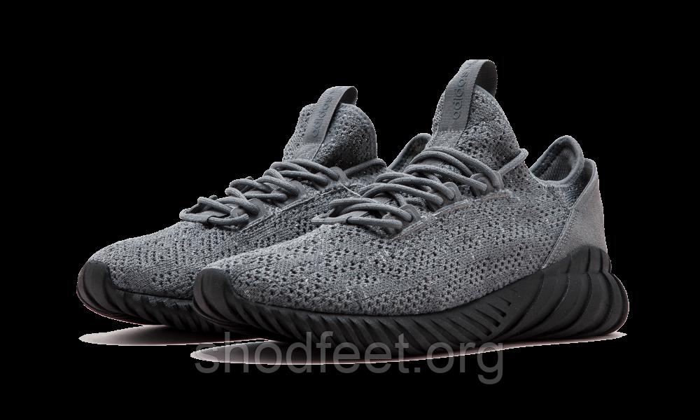 Мужские кроссовки Adidas Originals Tubular Doom Sock PK Primeknit Grey Black Men
