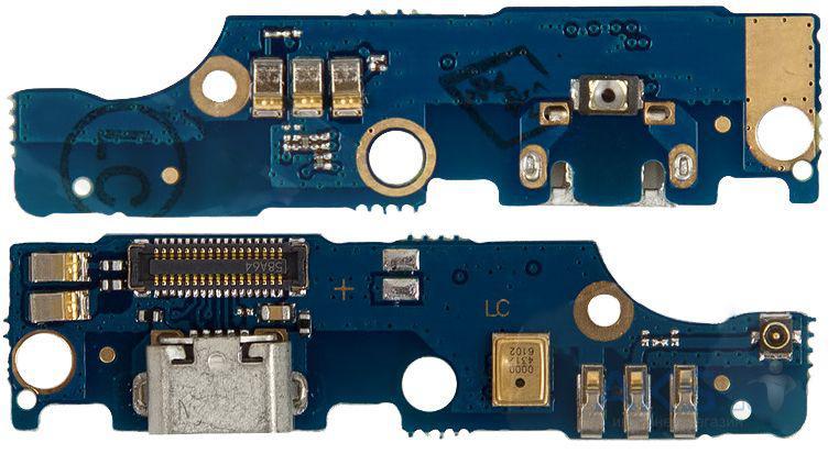 Плата нижняя (плата зарядки) Meizu M2 Note с разъемом зарядки и компонентами