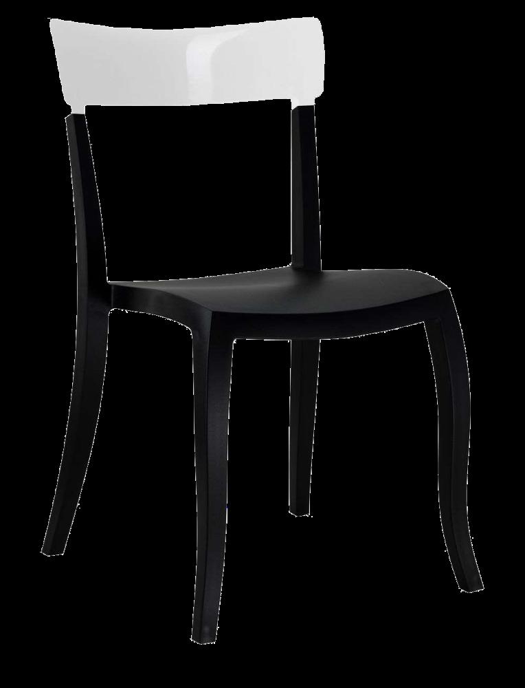 Стілець Papatya Hera-S чорне сидіння, верх білий