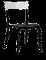 Стілець Papatya Hera-S чорне сидіння, верх білий, фото 1