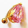 """Для пирсинга пупка """"Розовая капля"""" (розовый горный хрусталь). Медицинская сталь, золотое анодирование."""