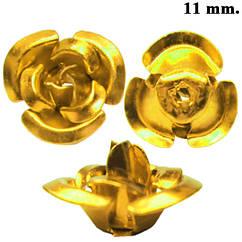 Набор Розы 3D Средние Золотистые Алюминиевые, 11 * 11 *7 мм., Отверстие 1,2 мм.