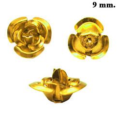 Набор Розы 3D Мини Золотистые Алюминиевые, 9 * 9 * 6 мм., Отверстие 1,1 мм.