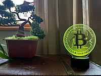 "3D светильник ""Bitcoin"" 3DTOYSLAMP, фото 1"