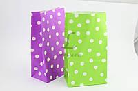 Пакет подарочный бумажный 24*13*7см Горохи