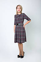 Стильное батальное женское платье с поясом