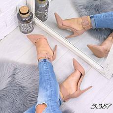 """Туфли женские на каблуке пудровые """"Rexsity"""" эко замша, повседневная, удобная, женская обувь, фото 3"""