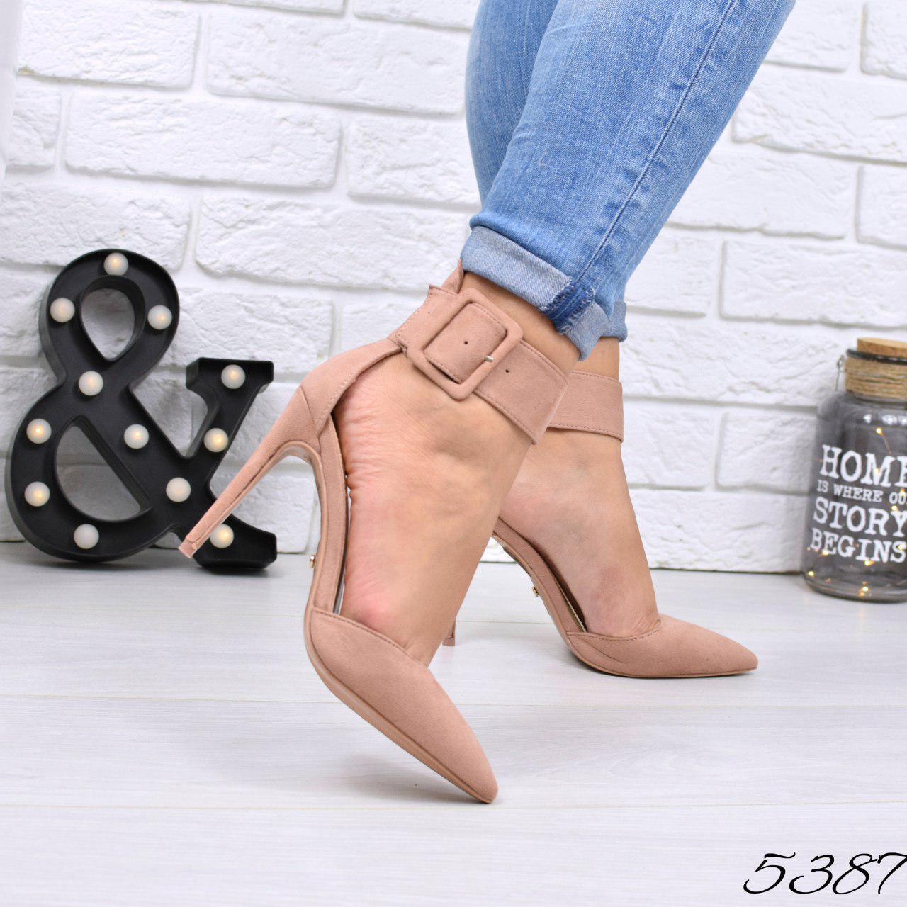 """Туфли женские на каблуке пудровые """"Rexsity"""" эко замша, повседневная, удобная, женская обувь"""