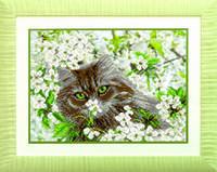 Схемы для вышивания бисером на авторской канве Кошка