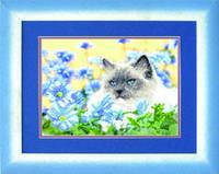 Схемы для вышивания бисером на авторской канве Кошка в васильках