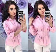 Женская блузка оверсайз в полоску и однотон с длинным рукавом