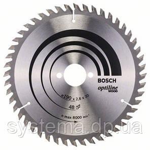 BOSCH Optiline Wood 190х2,6х30 мм - Пильный диск для ручных циркулярных пил , 48 зубьев, фото 2