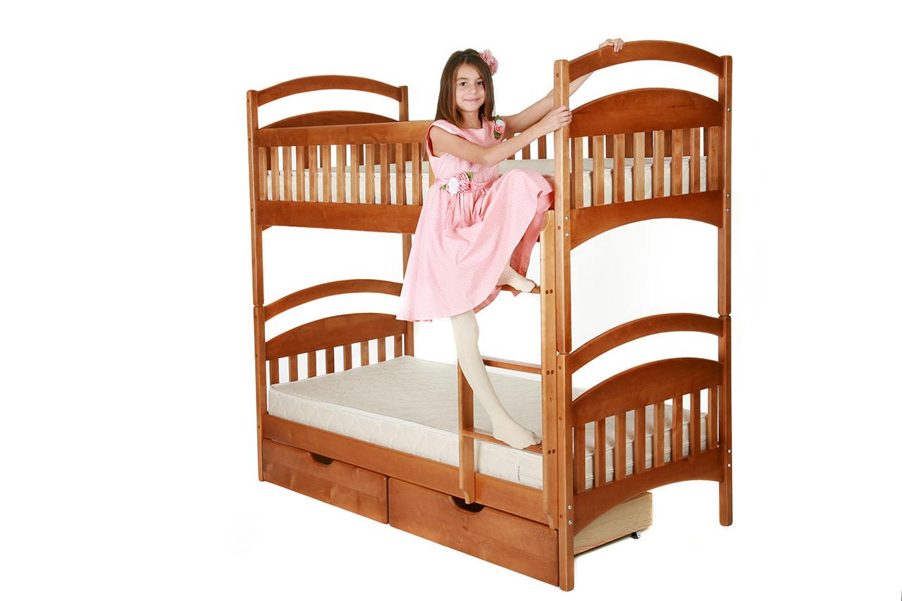 Двох'ярусне дитяче ліжко Карина з ящиками і матрацами. Вищий сорт без сучків