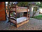 Двох'ярусне дитяче ліжко Карина з ящиками і матрацами. Вищий сорт без сучків, фото 5