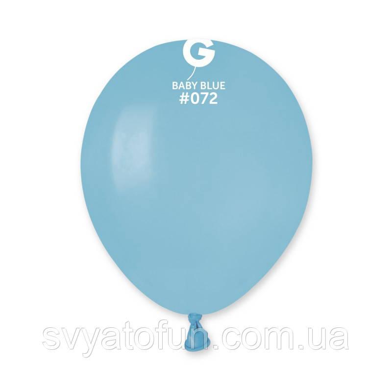 """Латексні повітряні кульки 5"""" пастель 72 світло-блакитний Gemar"""