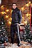 Зимний мужской спортивный костюм черный лак