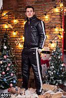 Зимний мужской спортивный костюм черный лак, фото 1