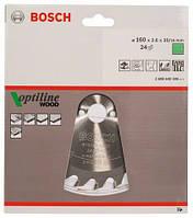 BOSCH Optiline Wood 160х2,6х20 мм, 24 зуба - Пильний диск для циркулярних пилок ручних