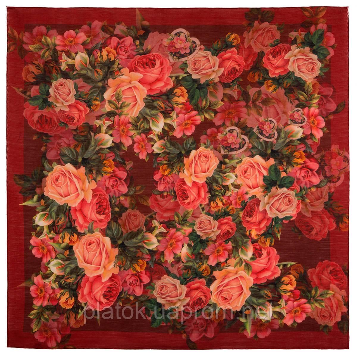 10183-6, павлопосадский платок шерстяной (разреженная шерсть) с швом зиг-заг