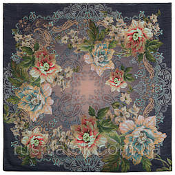 10467-14, павлопосадский платок шерстяной (разреженная шерсть) с швом зиг-заг
