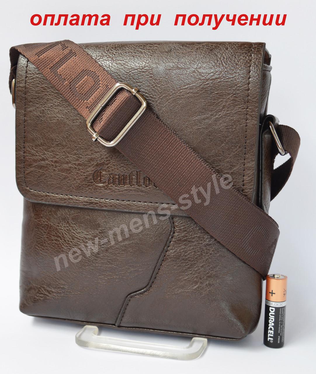 Чоловіча чоловіча шкіряна сумка барсетка через плече Cantlor (Polo) NEW